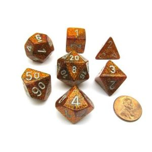 Chessex Glitter Gold w/Silver Set of 7 Dice
