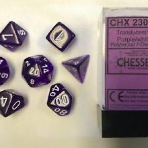Chessex Translucent Purple/White Set of 7 Dice